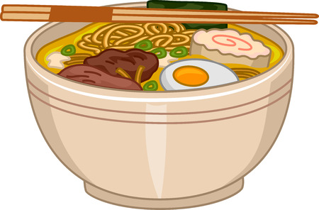 mouth watering: Illustration of a Bowl of Ramen With a Pair of Chopsticks Resting on Top