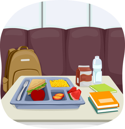comedor escolar: Ilustración de una bandeja de Almuerzos Escolares sentado en el medio de la cafetería
