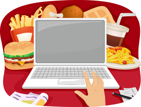 ordering: Cropped Illustration of a Person Ordering Fast Food Online