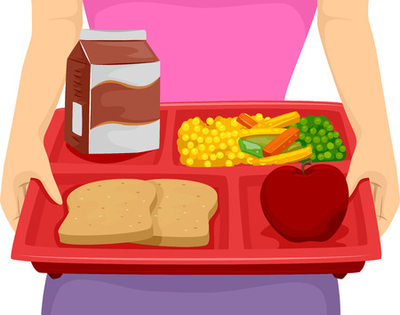 Cropped Illustration of a Person Carrying a Food Tray Composed of a Balanced Meal