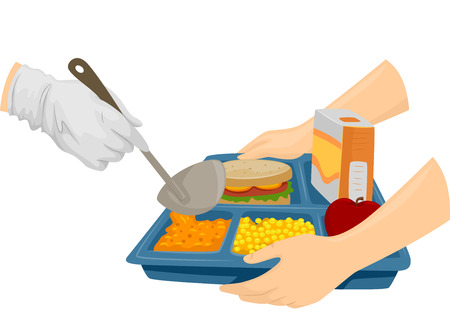 Bijgesneden Illustratie van een cafetaria Cook Presenteren Voedsel voor studenten Stockfoto