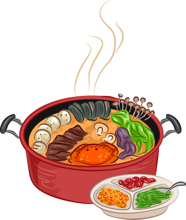 side dish: Illustration of a Steaming Hot Pot With Additional Ingredients Sitting Beside It