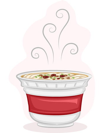 steaming: Illustration of a Steaming Cup of Instant Noodles Stock Photo