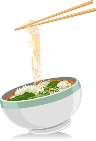 noodles soup: Illustration of a Bowl of Wonton Noodles With a Pair of Chopsticks Hovering Above Stock Photo