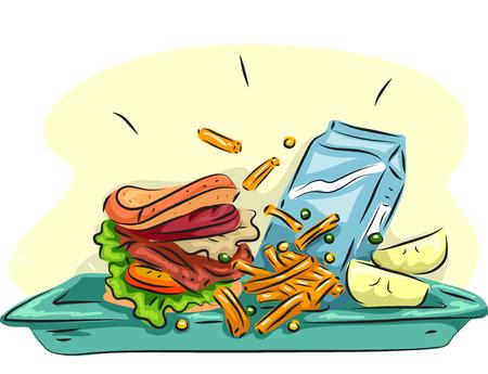 comedor escolar: Ilustración de un Almuerzo Escolar compuesto por una hamburguesa, patatas fritas, frutas, y un cartón de leche