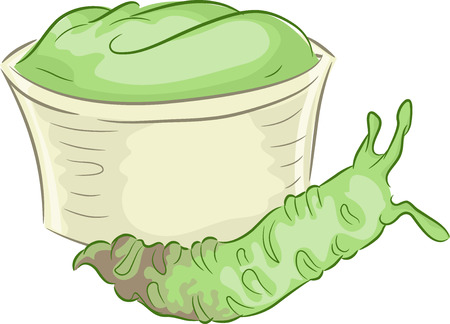 wasabi: Illustration of a Wasabi Stem Lying Beside a Cup of Wasabi Paste Stock Photo