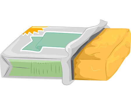 partially: Illustration of a Partially Opened Tub of Butter Stock Photo