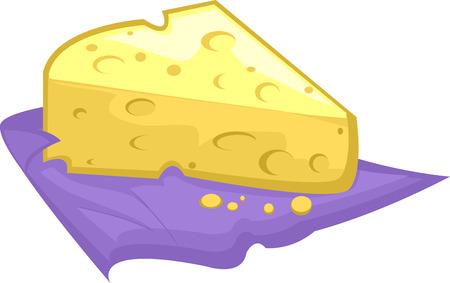 swiss cheese: Illustration of a Slice of Swiss Cheese Resting on a Purple Cloth