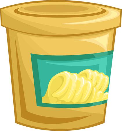 sealed: Illustration of a Tightly Sealed Tub of Margarine Stock Photo