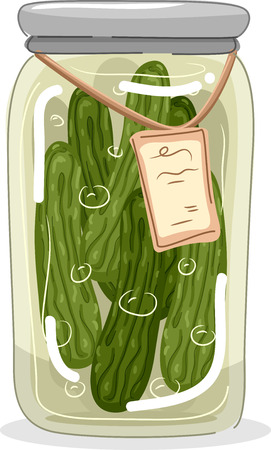 pickled: Illustration of a Jar Filled With Pickled Cucumbers