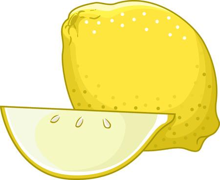limon caricatura: Ilustración de un limón Untouched Sentado al lado de una rebanada Uno