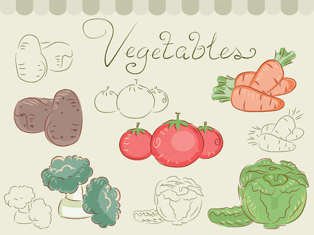 yam: Illustration of Different Vegetables Grouped Together Stock Photo