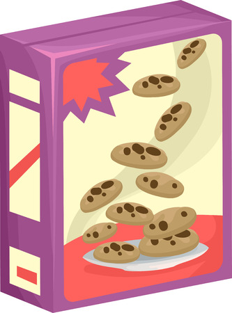 chocolate chip cookies: Illustration of a Box of Chocolate Chip Cookies Stock Photo