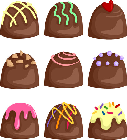 mouth watering: Illustration of Mouth Watering Chocolates With Different Toppings