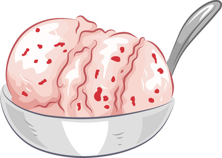 mouth watering: Illustration of a Bowl of Mouth Watering Strawberry Ice Cream