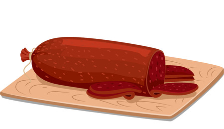 processed food: Illustration of a Roll of Salami Resting on a Wooden Board