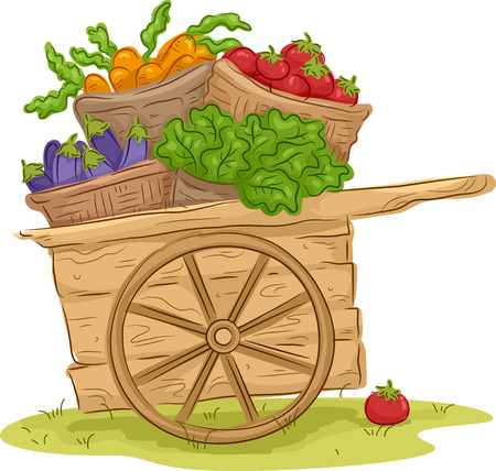 picked: Illustration of a Wooden Cart Filled With Freshly Picked Fruits and Vegetables Stock Photo
