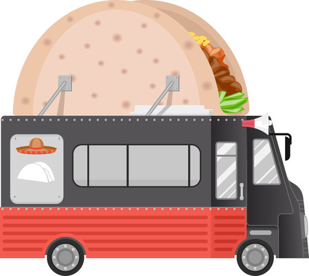 taco: Illustration of a Food Truck With a Taco Installation on its Roof Stock Photo