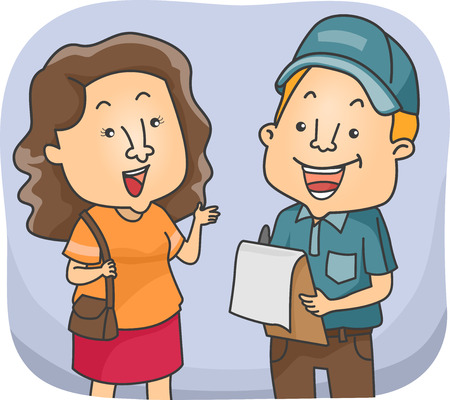 conducting: Illustration of a Girl Talking to a Man Conducting Surveys
