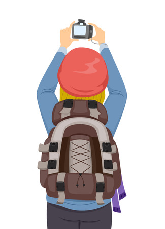 people travelling: Illustration of a Female Backpacker Taking Photos With Her Digital Camera