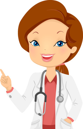 Illustration of a Female Doctor Using Her Finger to Point at Something