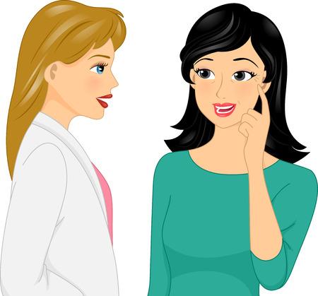 그녀의 성형 외과 의사에 그녀의 주름을보기 소녀의 그림