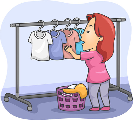 Illustration of a Woman Hanging Clothes Out to Dry