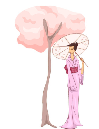 Illustration of a Woman in a Kimono Standing Beside a Cherry Blossom Tree