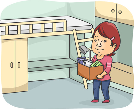 dorm: Illustration of a Woman Moving in to Her New Dorm Room Stock Photo