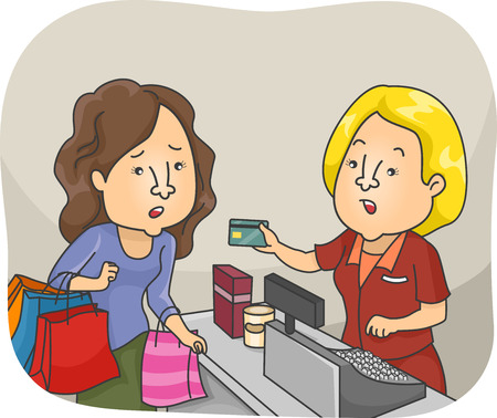 woman credit card: Illustration of a Woman on a Shopping Spree Having Her Credit Card Declined Stock Photo