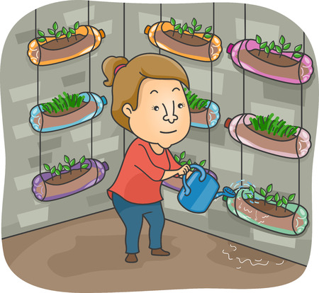 urban gardening: Illustration of a Woman Watering the Plants in Her Vertical Garden