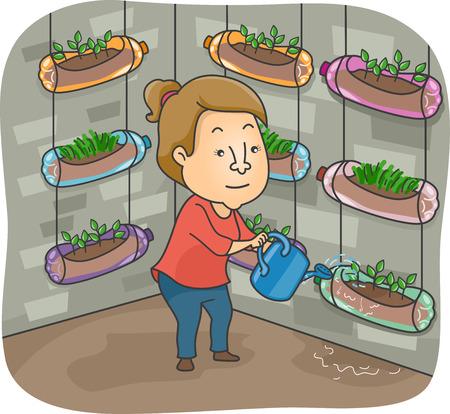 vertical garden: Illustration of a Woman Watering the Plants in Her Vertical Garden