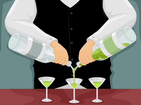 mixing: Illustration of a Male Bartender Mixing Drinks Stock Photo