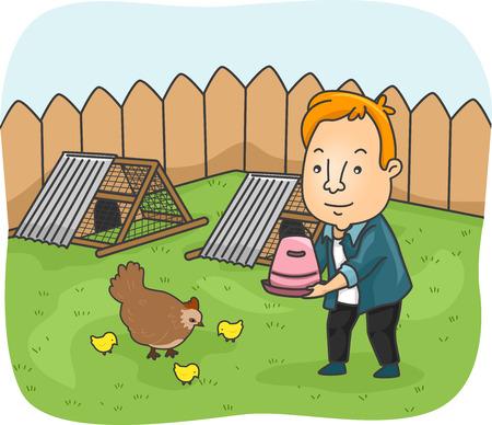 backyard: Illustration of a Man Feeding the Chickens in His Backyard