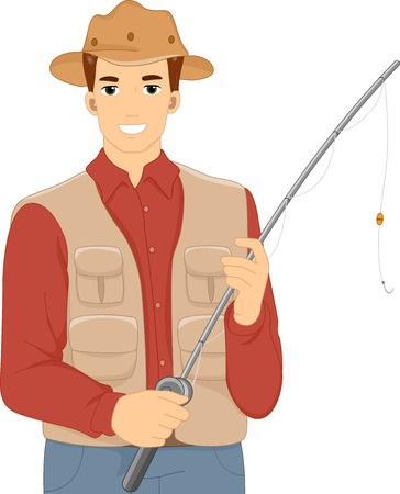 fly fisherman: Illustration of a Man Holding in a Vest and Matching Hat Holding a Fishing Rod Stock Photo