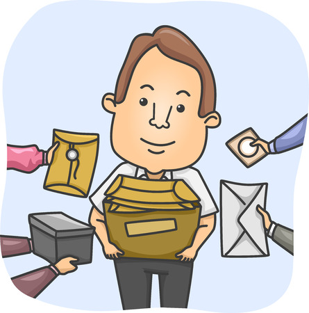 overwhelmed: Illustration of a Messenger Overwhelmed by Parcels Stock Photo