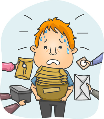 messenger: Illustration of a Tired and Sweaty Messenger Overwhelmed by Packages