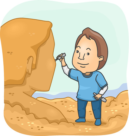 sculptor: Illustration of a Man Sculpting a Human Figure Out of Sand