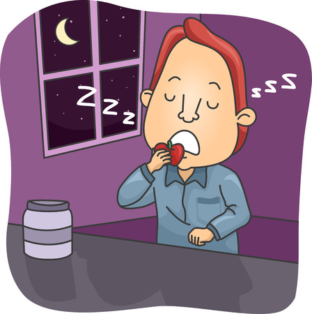 sleepwalker: Illustration of a Sleepwalking Man Eating an Apple While Asleep Stock Photo