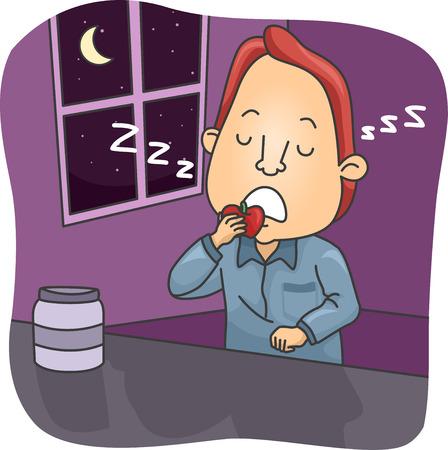 Illustration of a Sleepwalking Man Eating an Apple While Asleep Stock Photo