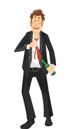 drunk: Illustration of a Heavily Drunk Man in a Suit Walking Unsteadily