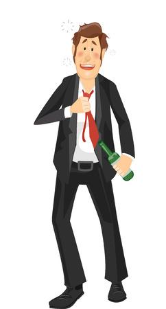 borracho: Ilustración de un hombre muy borracho en un juego que recorre Vacilante