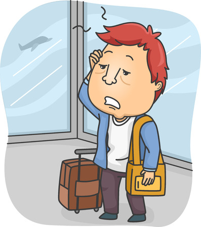 Illustration of a Man Tired from Traveling for Long Hours Stock Photo