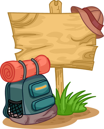 climbing gear: Illustration of a Camping Bag Sitting Beside a Wooden Sign Stock Photo