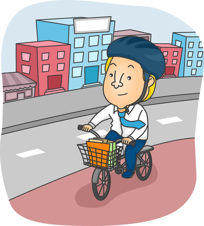 commute: Illustration of a Man Riding His Bicycle Around the City