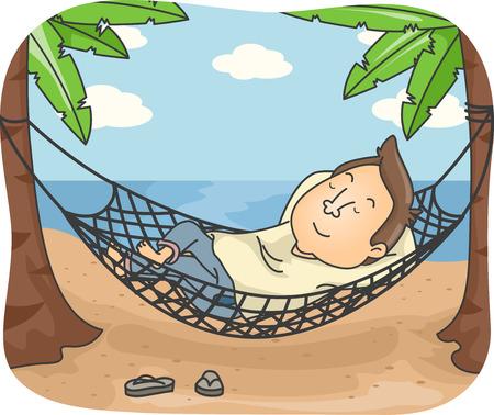 Illustration of a Man Sleeping on a Hammock by the Beach