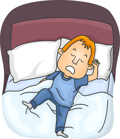 restless: Illustration of a Man Who Keeps on Moving While Sleeping Stock Photo