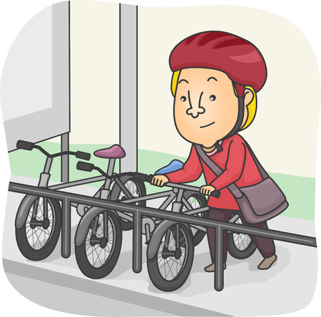 cartoon biker: Illustration of a Man Parking His Bicycle in the Designated Parking Lot