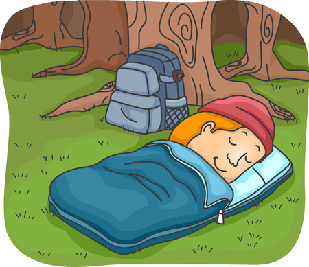 sleeping bag: Illustration of a Man Sleeping in a Sleeping Bag While Camping in the Woods Stock Photo