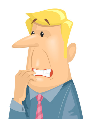 nervous: Illustration of a Terribly Anxious Man Chewing on His Fingernails